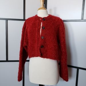 Anthropologie red mohair crop sweater cardigan